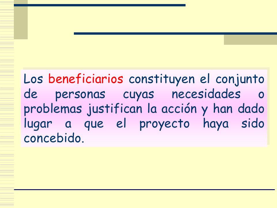 Los beneficiarios constituyen el conjunto de personas cuyas necesidades o problemas justifican la acción y han dado lugar a que el proyecto haya sido