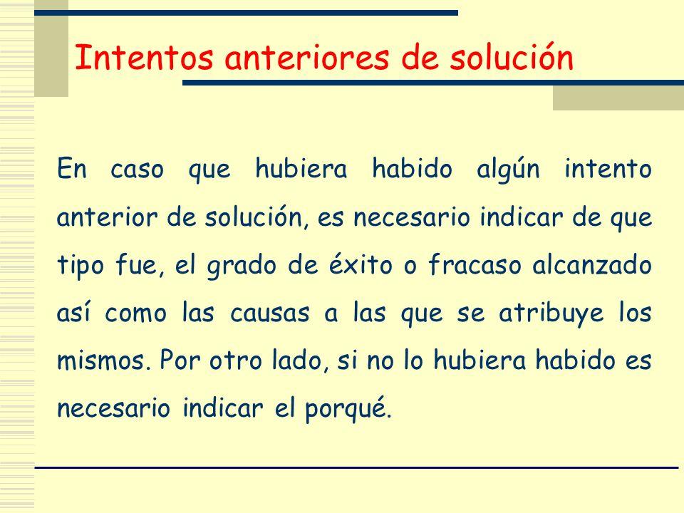Intentos anteriores de solución En caso que hubiera habido algún intento anterior de solución, es necesario indicar de que tipo fue, el grado de éxito