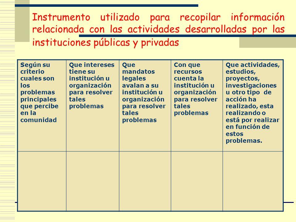 Según su criterio cuales son los problemas principales que percibe en la comunidad Que intereses tiene su institución u organización para resolver tal