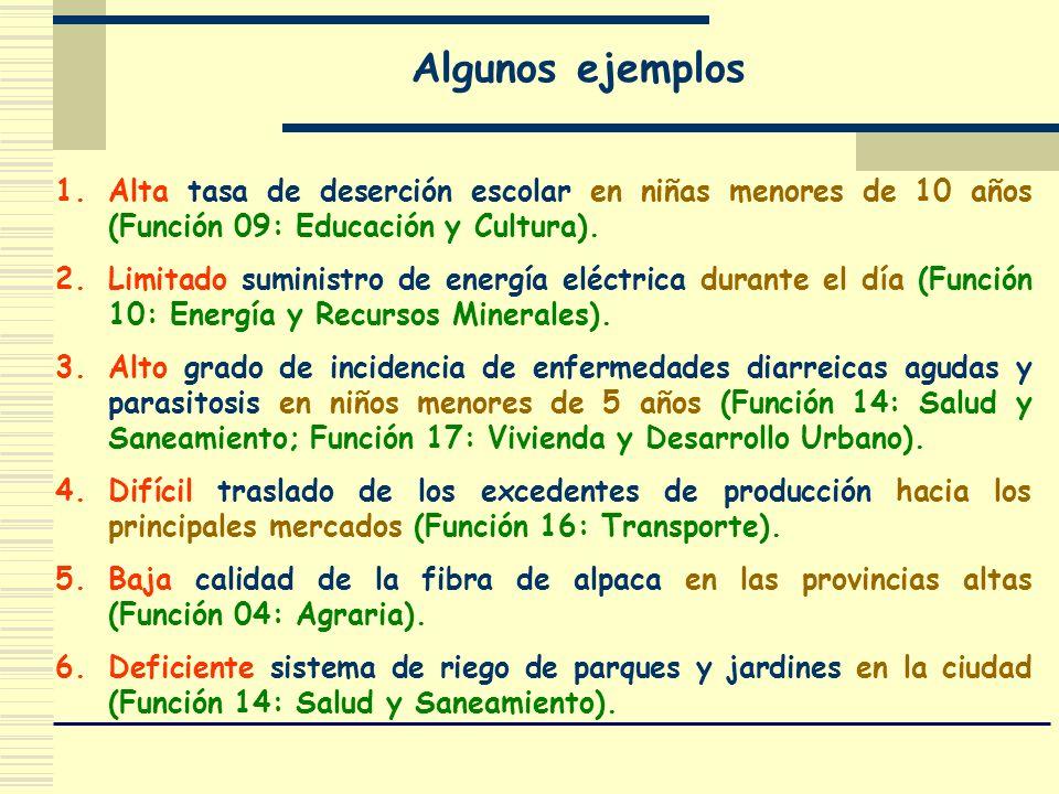 Algunos ejemplos 1.Alta tasa de deserción escolar en niñas menores de 10 años (Función 09: Educación y Cultura). 2.Limitado suministro de energía eléc