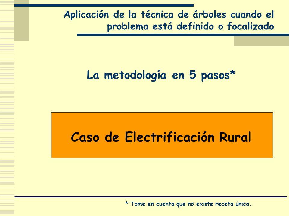 Aplicación de la técnica de árboles cuando el problema está definido o focalizado Caso de Electrificación Rural La metodología en 5 pasos* * Tome en c