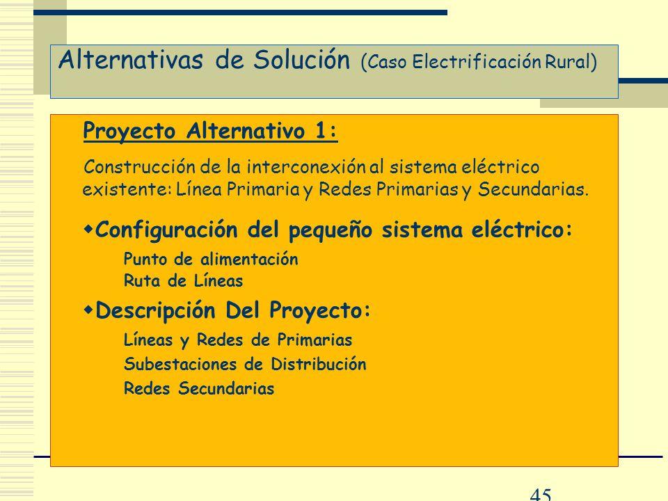 45 Alternativas de Solución (Caso Electrificación Rural) Proyecto Alternativo 1: Construcción de la interconexión al sistema eléctrico existente: Líne