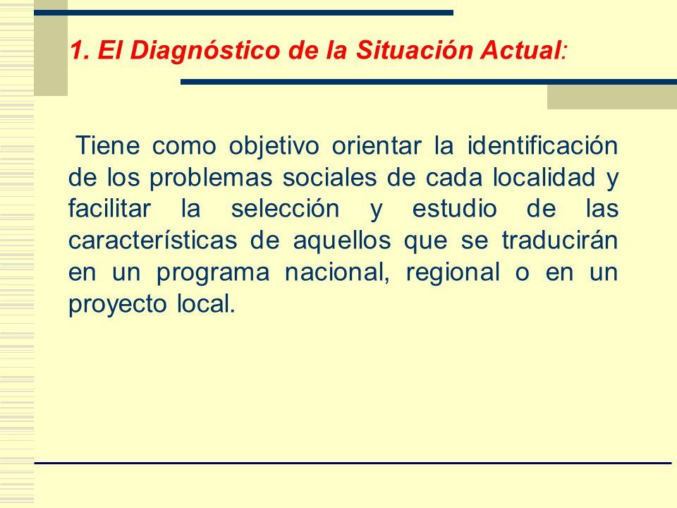 1. El Diagnóstico de la Situación Actual: Tiene como objetivo orientar la identificación de los problemas sociales de cada localidad y facilitar la se