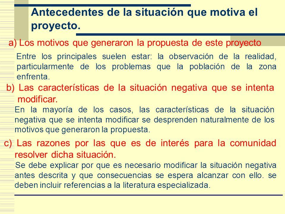 Antecedentes de la situación que motiva el proyecto. a)Los motivos que generaron la propuesta de este proyecto Entre los principales suelen estar: la