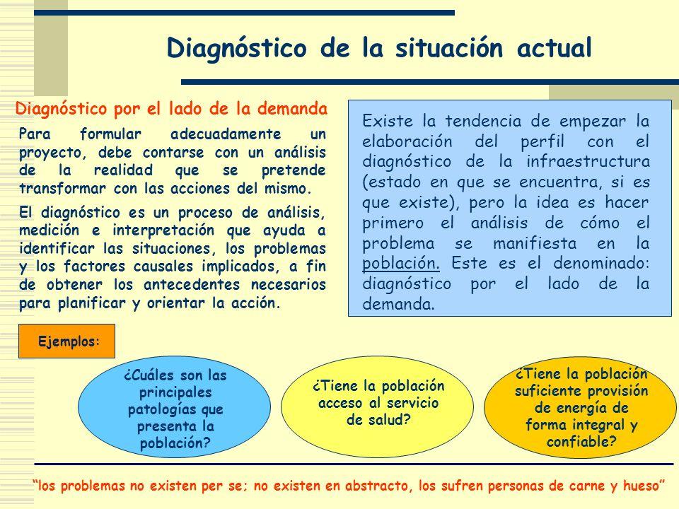 Diagnóstico de la situación actual los problemas no existen per se; no existen en abstracto, los sufren personas de carne y hueso Existe la tendencia