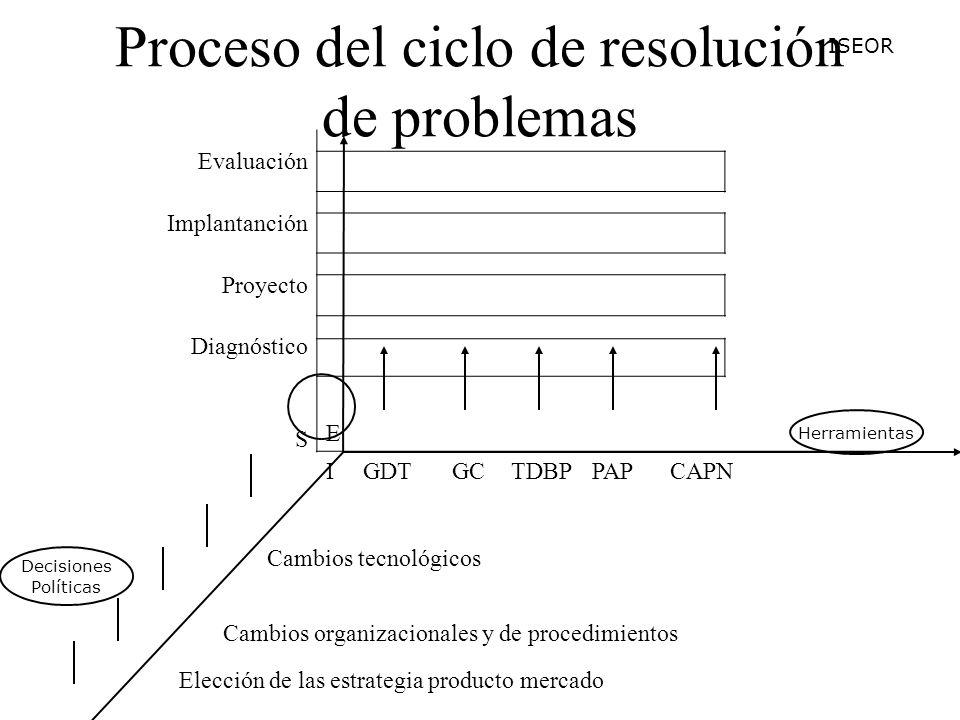 Proceso del ciclo de resolución de problemas Evaluación Implantanción Proyecto Diagnóstico S E IGDTGCTDBPPAPCAPN Cambios tecnológicos Cambios organizacionales y de procedimientos Elección de las estrategia producto mercado Elección del sistema de administración Estrategia de desarrollo de R.H.