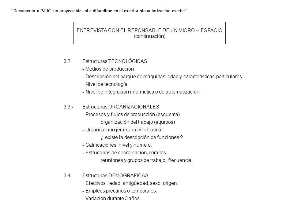 ENTREVISTA CON EL REPONSABLE DE UN MICRO – ESPACIO (continuación) 3.2.-Estructuras TECNOLÓGICAS - Medios de producción - Descripción del parque de máquinas, edad y características particulares.
