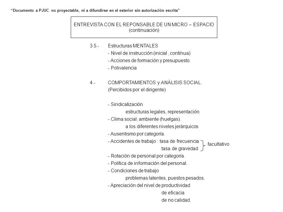 ENTREVISTA CON EL REPONSABLE DE UN MICRO – ESPACIO (continuación) 3.5.-Estructuras MENTALES - Nivel de instrucción (inicial, contínua) - Acciones de f
