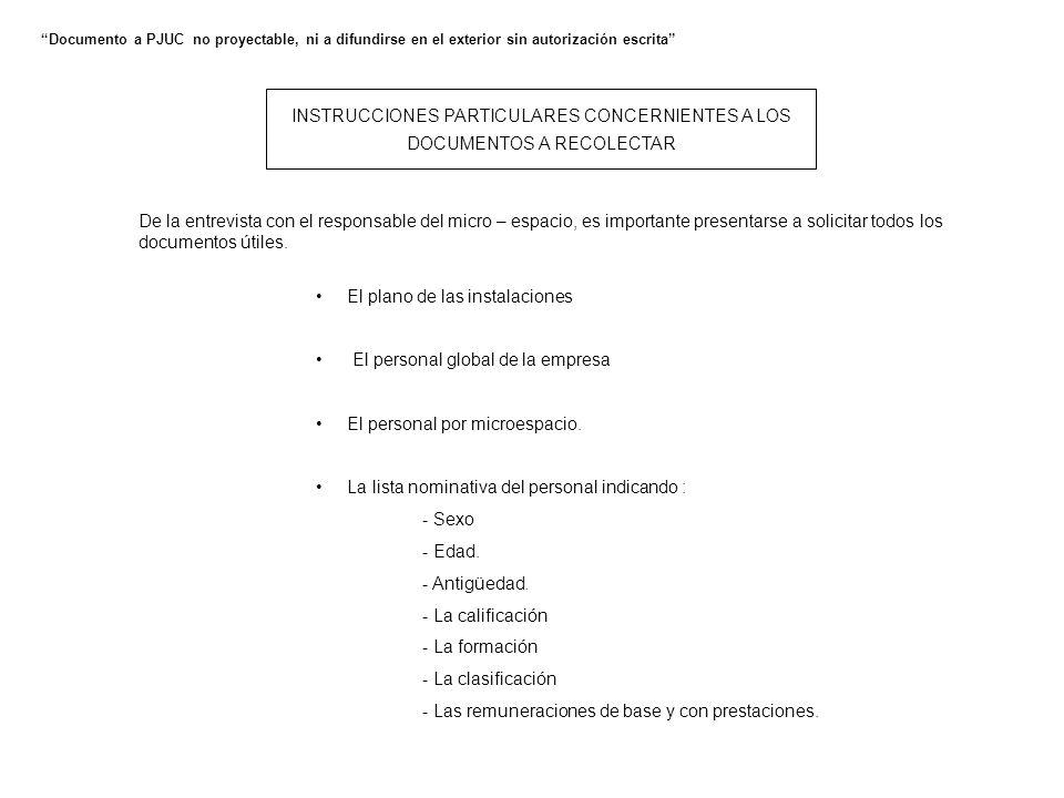 INSTRUCCIONES PARTICULARES CONCERNIENTES A LOS DOCUMENTOS A RECOLECTAR Documento a PJUC no proyectable, ni a difundirse en el exterior sin autorizació