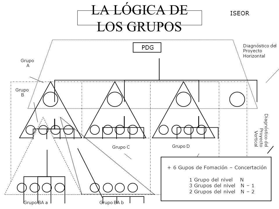 LA LÓGICA DE LOS GRUPOS PDG Grupo BA aGrupo BA b Grupo C Grupo D Grupo B Grupo A Diagnóstico del Proyecto Horizontal Diagnóstico del Proyecto Vertical