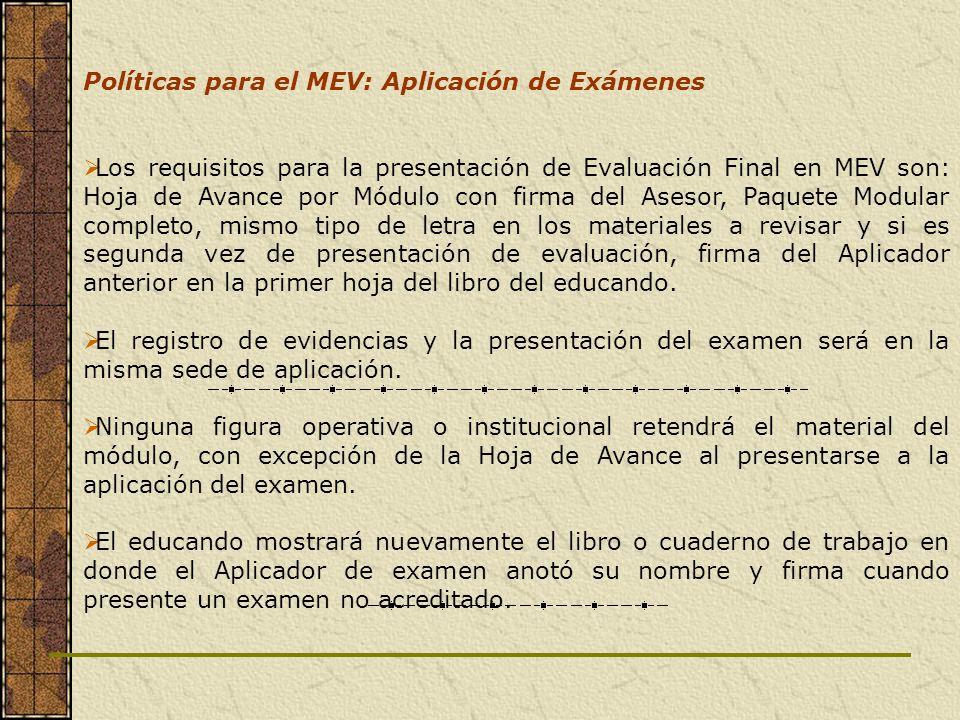 Políticas para el MEV: Aplicación de Exámenes Los requisitos para la presentación de Evaluación Final en MEV son: Hoja de Avance por Módulo con firma
