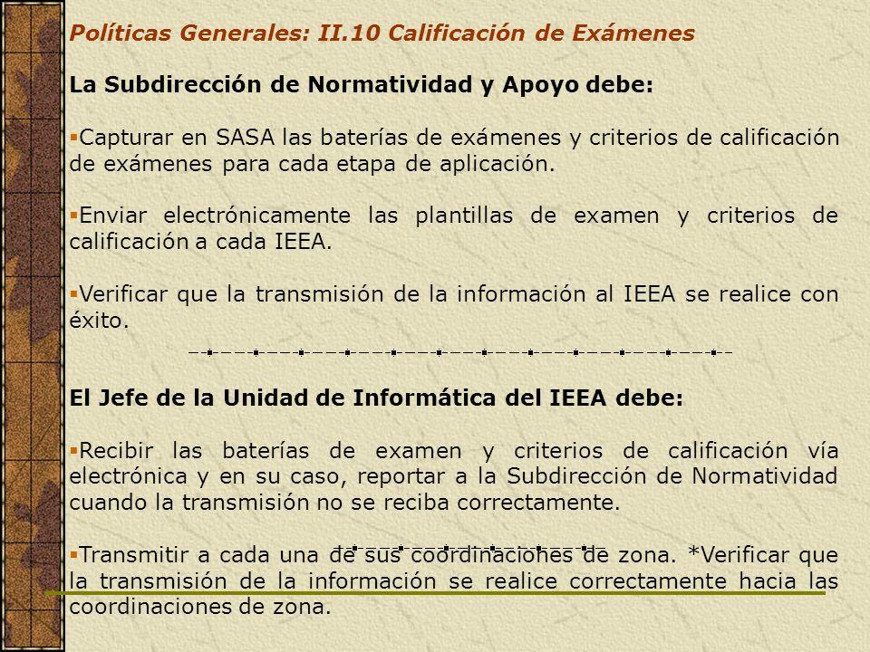 Políticas Generales: II.10 Calificación de Exámenes La Subdirección de Normatividad y Apoyo debe: Capturar en SASA las baterías de exámenes y criterio