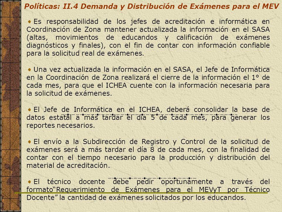 Es responsabilidad de los jefes de acreditación e informática en Coordinación de Zona mantener actualizada la información en el SASA (altas, movimient