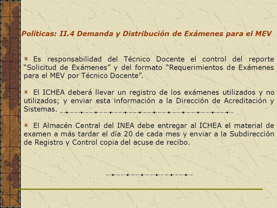 Es responsabilidad del Técnico Docente el control del reporte Solicitud de Exámenes y del formato Requerimientos de Exámenes para el MEV por Técnico D