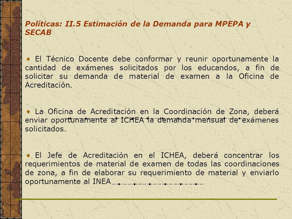 Políticas: II.5 Estimación de la Demanda para MPEPA y SECAB El Técnico Docente debe conformar y reunir oportunamente la cantidad de exámenes solicitad