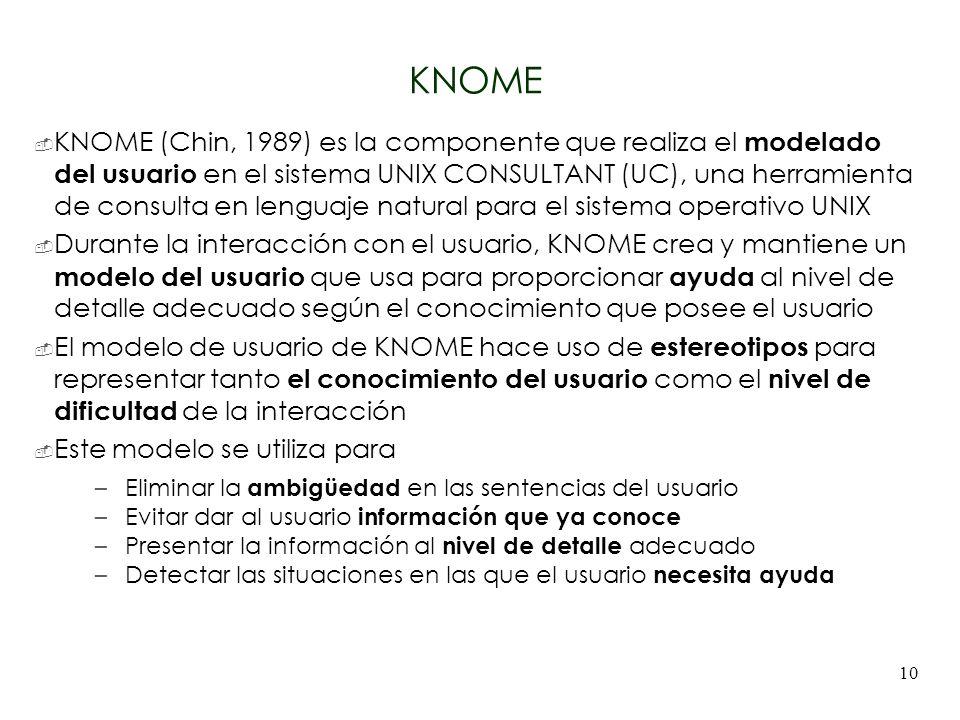 10 KNOME KNOME (Chin, 1989) es la componente que realiza el modelado del usuario en el sistema UNIX CONSULTANT (UC), una herramienta de consulta en le
