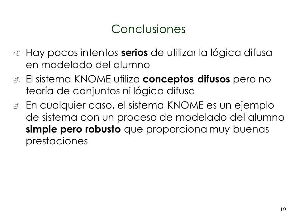 19 Conclusiones Hay pocos intentos serios de utilizar la lógica difusa en modelado del alumno El sistema KNOME utiliza conceptos difusos pero no teorí