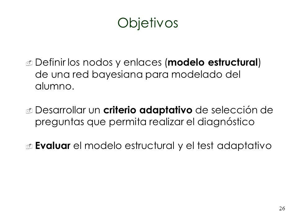 26 Definir los nodos y enlaces ( modelo estructural ) de una red bayesiana para modelado del alumno. Desarrollar un criterio adaptativo de selección d