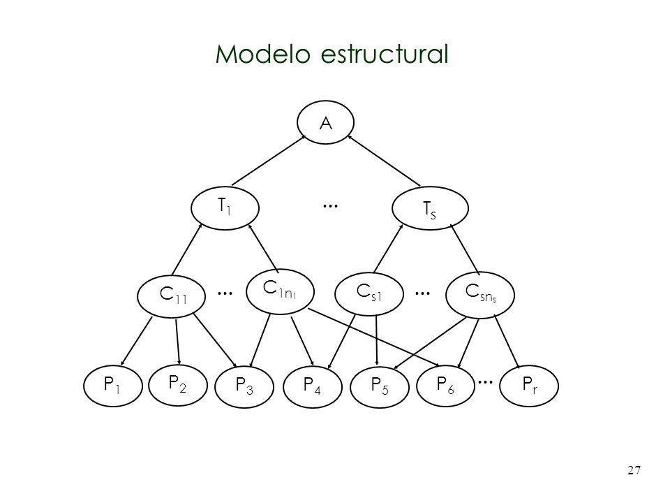 27 A C 11 C 1n 1 T1T1 C sn s C s1 TsTs P1P1 P2P2 P3P3 P4P4 P5P5 P6P6 PrPr... Modelo estructural