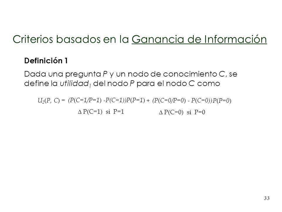 33 Definición 1 Dada una pregunta P y un nodo de conocimiento C, se define la utilidad 1 del nodo P para el nodo C como U 2 ( P, C ) = P(P=1)P(P=1) P(