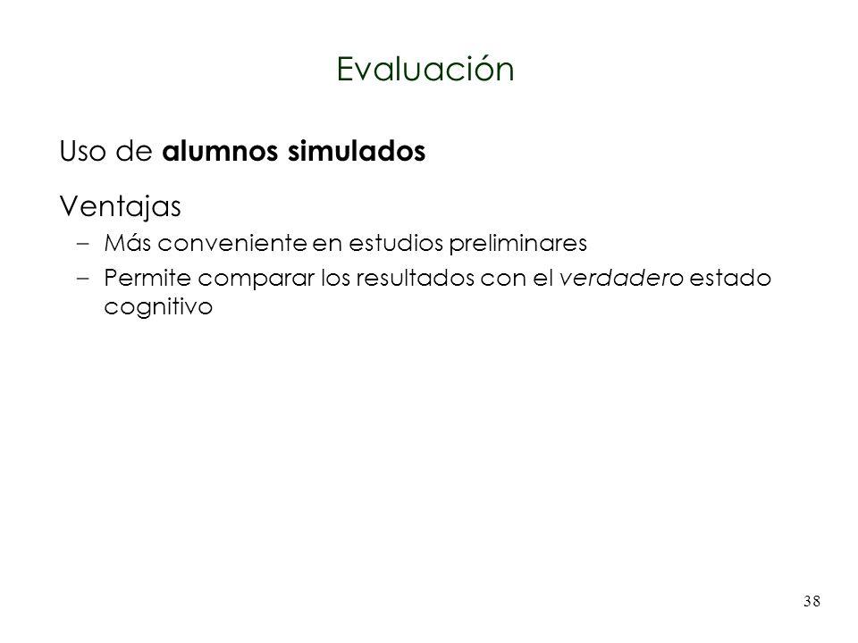 38 Uso de alumnos simulados Ventajas –Más conveniente en estudios preliminares –Permite comparar los resultados con el verdadero estado cognitivo Eval