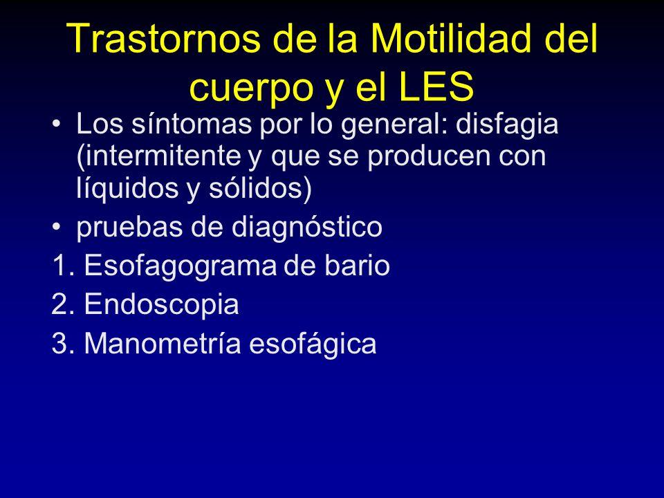 Trastornos de la Motilidad del cuerpo y el LES Los síntomas por lo general: disfagia (intermitente y que se producen con líquidos y sólidos) pruebas de diagnóstico 1.