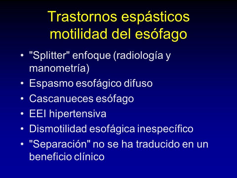 Trastornos espásticos motilidad del esófago Splitter enfoque (radiología y manometría) Espasmo esofágico difuso Cascanueces esófago EEI hipertensiva Dismotilidad esofágica inespecífico Separación no se ha traducido en un beneficio clínico