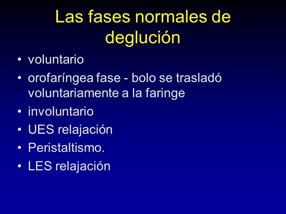 Las fases normales de deglución voluntario orofaríngea fase - bolo se trasladó voluntariamente a la faringe involuntario UES relajación Peristaltismo.