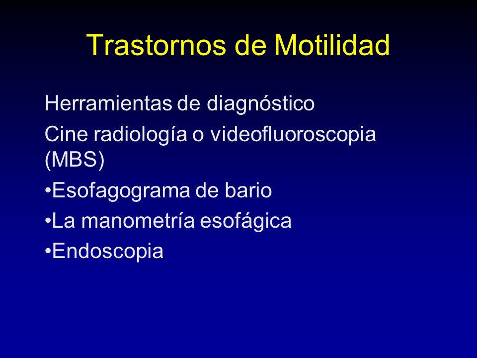 Trastornos de Motilidad Herramientas de diagnóstico Cine radiología o videofluoroscopia (MBS) Esofagograma de bario La manometría esofágica Endoscopia