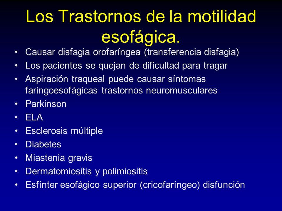 Diagnóstico Endoscopia (GE descartar tumores de unión, esp.: edad> 60) La manometría esofágica (peristalsis ausente, relajación del EEI, y en reposo LES> 45 mmHg