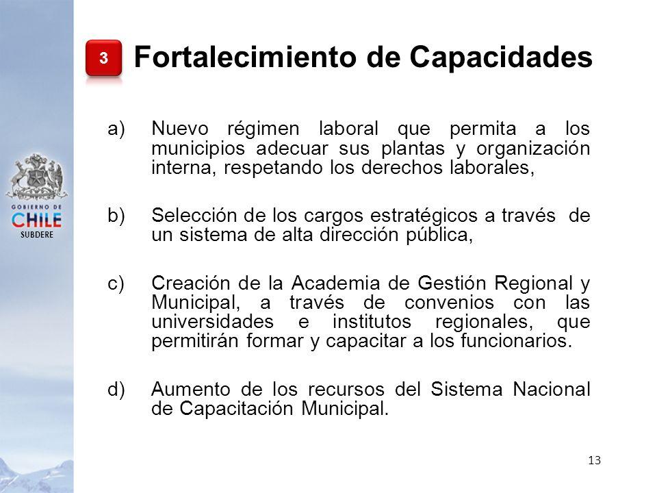 SUBDERE 13 a)Nuevo régimen laboral que permita a los municipios adecuar sus plantas y organización interna, respetando los derechos laborales, b)Selec