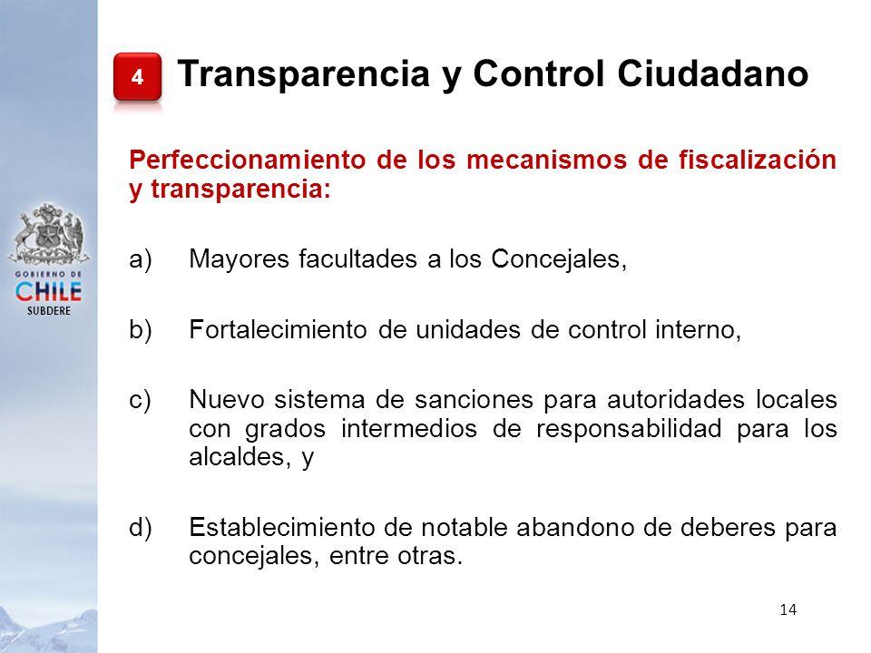 SUBDERE 14 Perfeccionamiento de los mecanismos de fiscalización y transparencia: a)Mayores facultades a los Concejales, b)Fortalecimiento de unidades