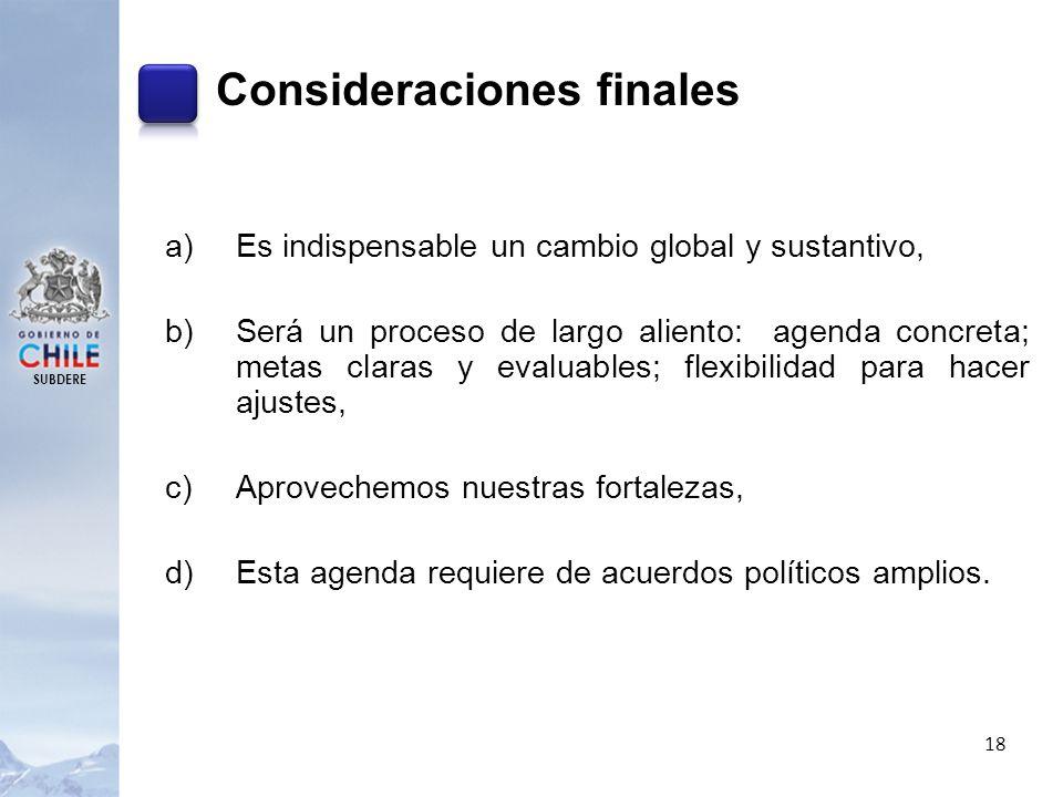 SUBDERE 18 Consideraciones finales a)Es indispensable un cambio global y sustantivo, b)Será un proceso de largo aliento: agenda concreta; metas claras