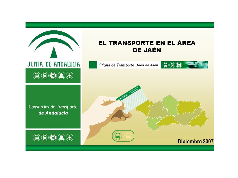 La Situación del Transporte en el Área de Jaén Diciembre 2007 OBJETIVO DE LA OFICINA INFORMACIÓN: Base informativa de datos del transporte Preparar documentación necesaria para el inicio del funcionamiento del Consorcio - Encuesta en autobuses interurbanos - Encuesta al vehículo privado en la ciudad de Jaén - Encuesta en autobuses urbanos (en elaboración) DIAGNÓSTICO: Diagnóstico de la situación del transporte TAREAS REALIZADAS