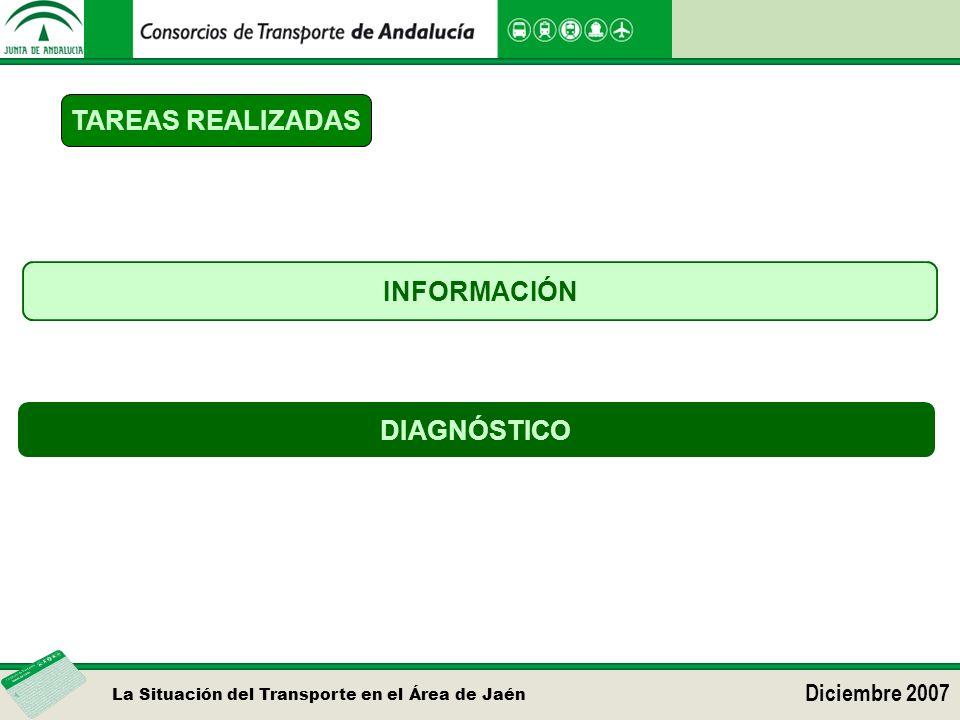 La Situación del Transporte en el Área de Jaén Diciembre 2007 TAREAS REALIZADAS DIAGNÓSTICO INFORMACIÓN