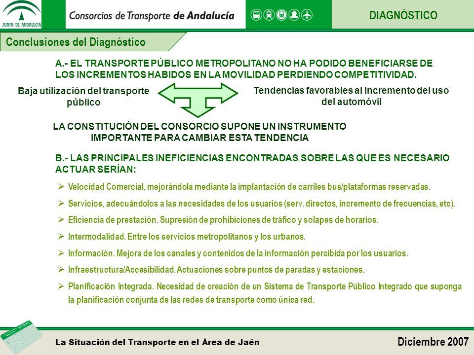 La Situación del Transporte en el Área de Jaén Diciembre 2007 Conclusiones del Diagnóstico DIAGNÓSTICO A.- EL TRANSPORTE PÚBLICO METROPOLITANO NO HA P
