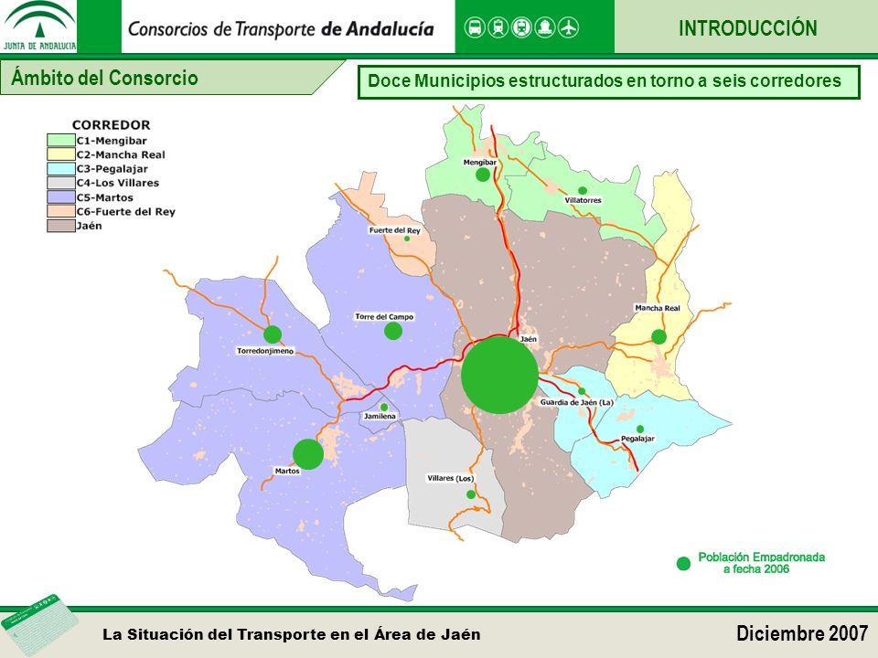 La Situación del Transporte en el Área de Jaén Diciembre 2007 Ámbito del Consorcio INTRODUCCIÓN Doce Municipios estructurados en torno a seis corredor