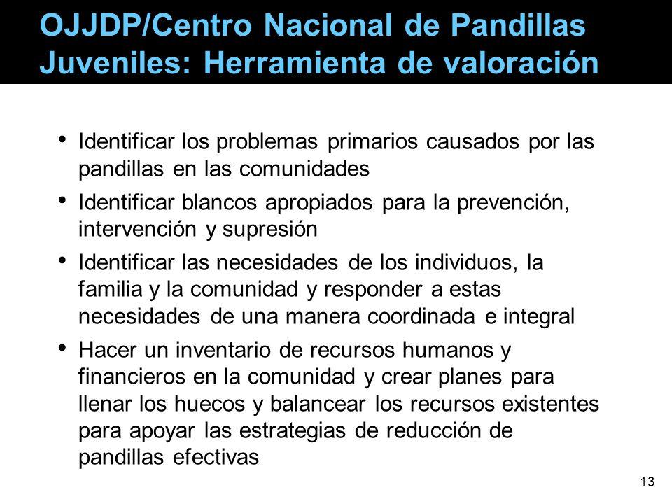 OJJDP/Centro Nacional de Pandillas Juveniles: Herramienta de valoración Identificar los problemas primarios causados por las pandillas en las comunida