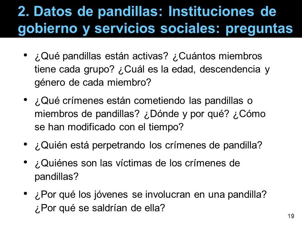 2. Datos de pandillas: Instituciones de gobierno y servicios sociales: preguntas ¿Qué pandillas están activas? ¿Cuántos miembros tiene cada grupo? ¿Cu