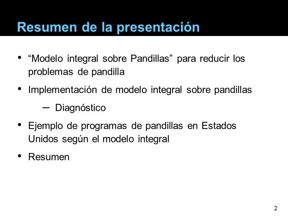 Resumen de la presentación Modelo integral sobre Pandillas para reducir los problemas de pandilla Implementación de modelo integral sobre pandillas –