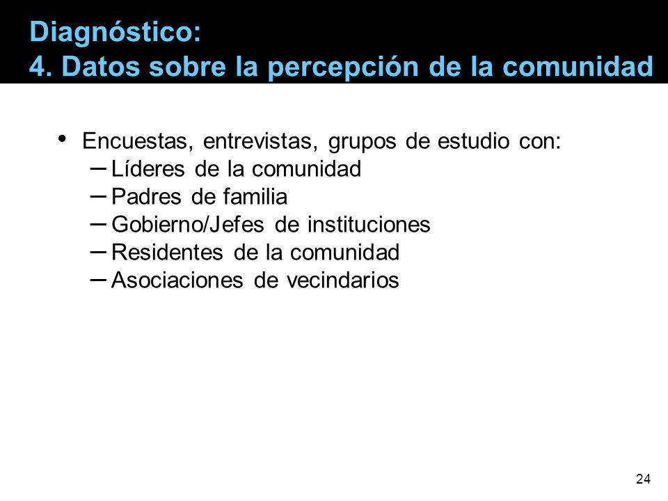 Encuestas, entrevistas, grupos de estudio con: – Líderes de la comunidad – Padres de familia – Gobierno/Jefes de instituciones – Residentes de la comu