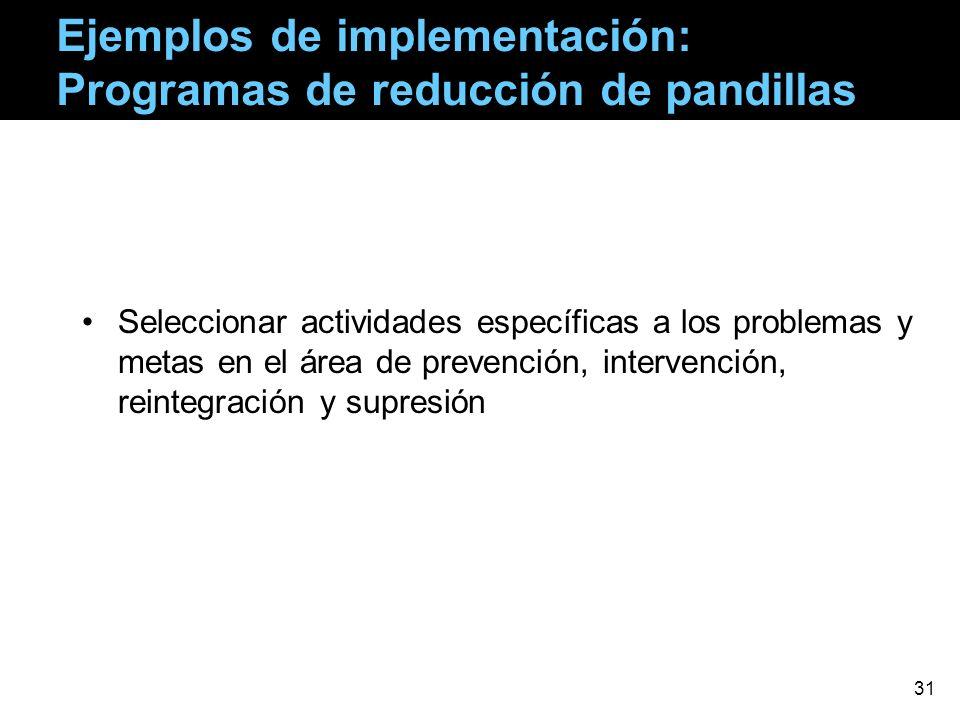 Ejemplos de implementación: Programas de reducción de pandillas Seleccionar actividades específicas a los problemas y metas en el área de prevención,