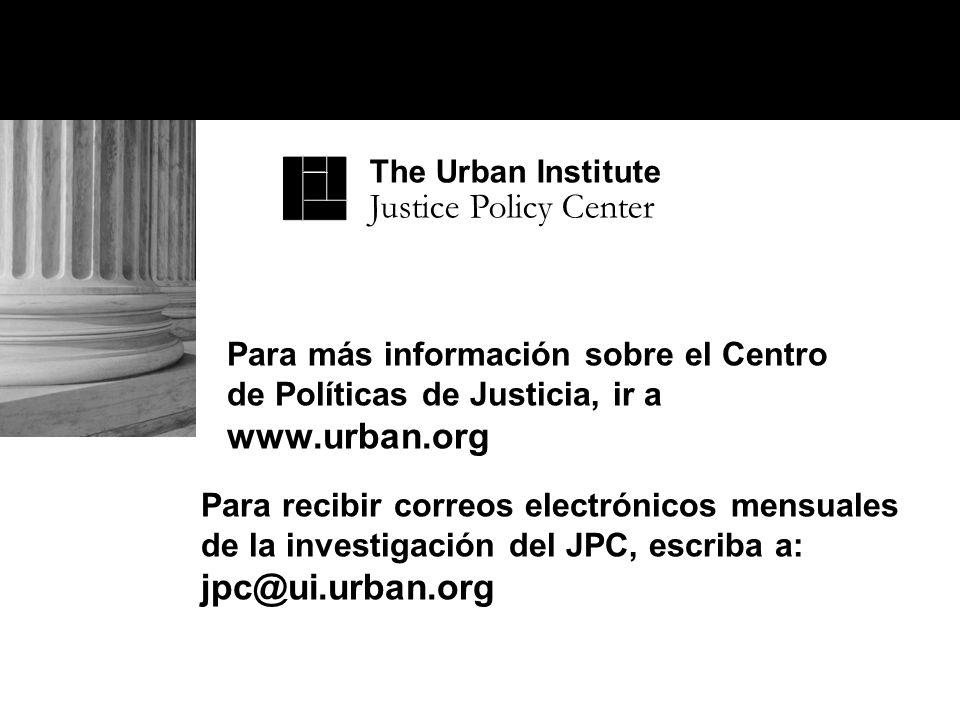 Para más información sobre el Centro de Políticas de Justicia, ir a www.urban.org Para recibir correos electrónicos mensuales de la investigación del