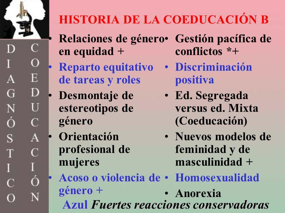 HISTORIA DE LA COEDUCACIÓN B Relaciones de género en equidad + Reparto equitativo de tareas y rolesReparto equitativo de tareas y roles Desmontaje de