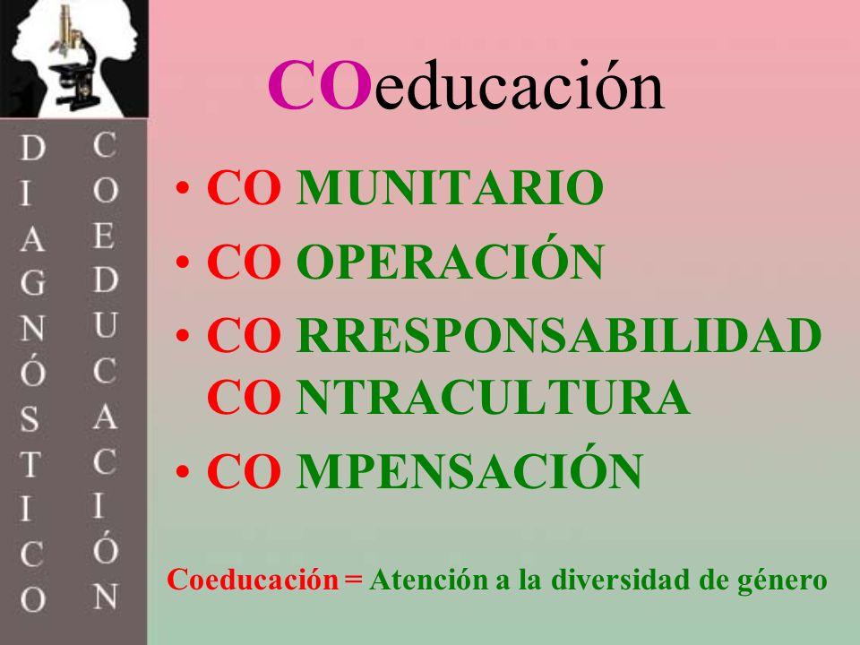COeducación CO MUNITARIO CO OPERACIÓN CO RRESPONSABILIDAD CO NTRACULTURA CO MPENSACIÓN Coeducación = Atención a la diversidad de género