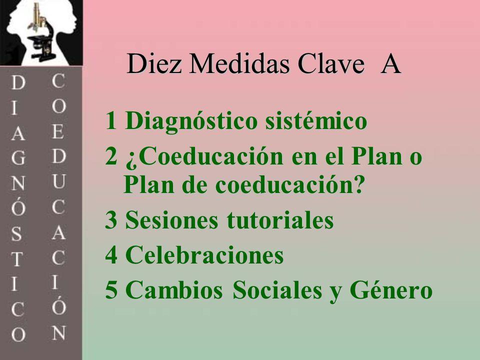 Diez Medidas Clave A 1 Diagnóstico sistémico 2 ¿Coeducación en el Plan o Plan de coeducación? 3 Sesiones tutoriales 4 Celebraciones 5 Cambios Sociales