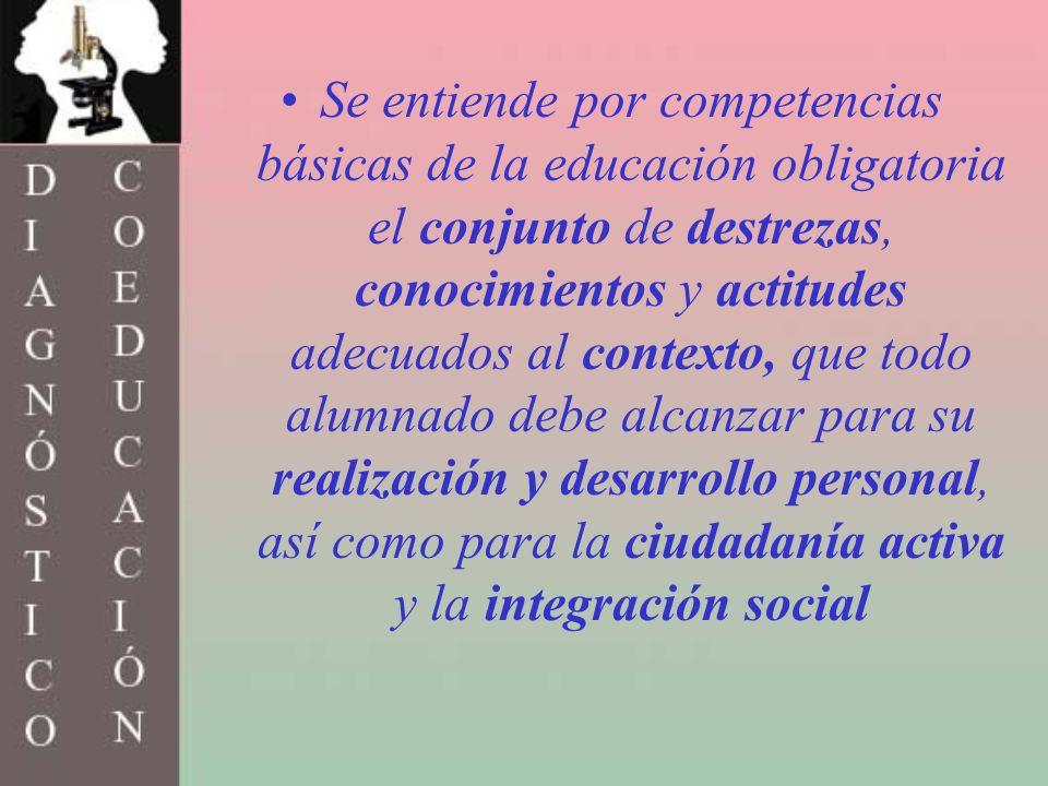 Se entiende por competencias básicas de la educación obligatoria el conjunto de destrezas, conocimientos y actitudes adecuados al contexto, que todo a