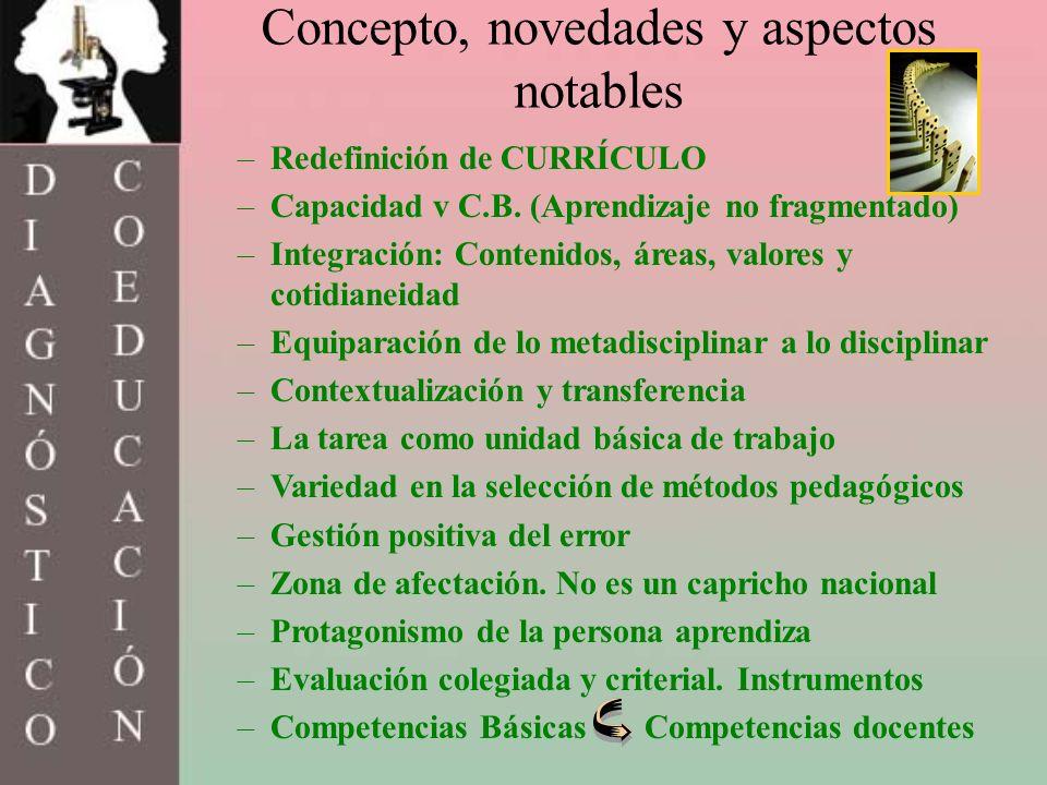 Concepto, novedades y aspectos notables –Redefinición de CURRÍCULO –Capacidad v C.B. (Aprendizaje no fragmentado) –Integración: Contenidos, áreas, val