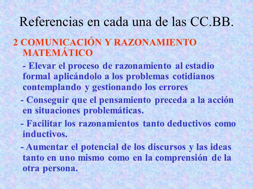 Referencias en cada una de las CC.BB. 2 COMUNICACIÓN Y RAZONAMIENTO MATEMÁTICO - Elevar el proceso de razonamiento al estadio formal aplicándolo a los