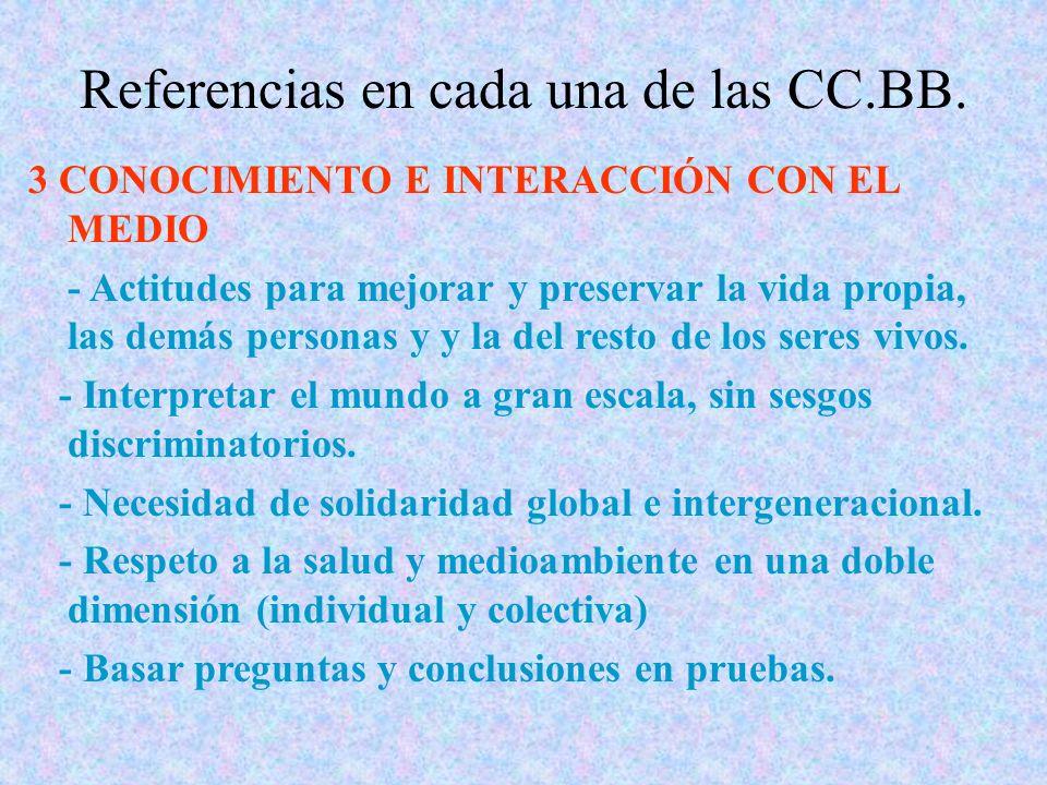 Referencias en cada una de las CC.BB. 3 CONOCIMIENTO E INTERACCIÓN CON EL MEDIO - Actitudes para mejorar y preservar la vida propia, las demás persona